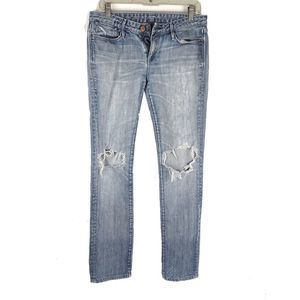 Earnest Sewn Womens Distressed Blue Denim Jeans 32